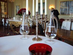 Tischdekoration im Cheval Blanc, Basel